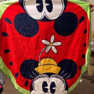 Watermelon minie and Mickey towel with an cooler
